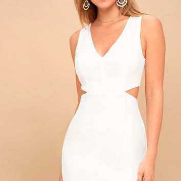 Backstage Pass White Sleeveless Cutout Bodycon Dress