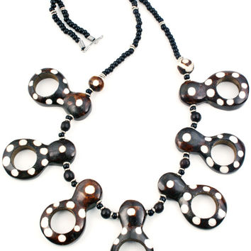African Polka Dot Peephole Gourd Necklace