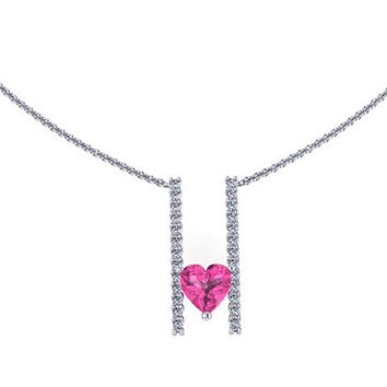 Heart Shape Diamond Necklace Pink Sapphire Necklace 14K White Gold Necklace with 6x6mm Heart Pink Sapphire Center - V1094
