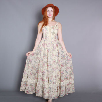 70s GUNNE SAX Sun DRESS / 1970s Floral Bird Print Full Skirt Corset Maxi xs s