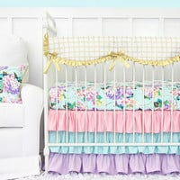 Holly's Hydrangea Ruffle Baby Bedding | Pastel Pink Blue Lavender Crib Bedding Set