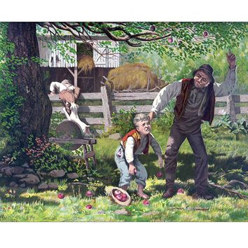 Boy Stealing Apples from a Yard Vintage Picture on Canvas Hung on Copper Rod, Ready to Hang, Wall Art Décor