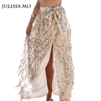 2016 New Fashion Casual Vintage Sequin Skirt Summer Bohemian Tassel High Waist  Beach Faldas Maxi Long Skirt For Women