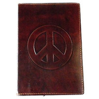 "Handmade Handcrafted Peace"" Embossed Leather Notebook Writting Journal"
