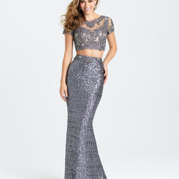 Madison James 16-406 In Stock Gray SZ 4 Sequin Cap Sleeve Two Piece Prom Dress