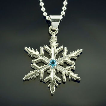 Blue Topaz, snowflake necklace, sterling silver pendant, winter wedding