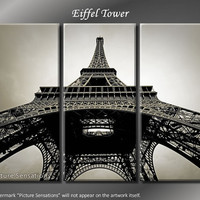 Framed Huge 3 Panel Modern France Paris Eiffel Tower Giclee Canvas Print - Ready to Hang