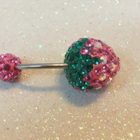 Belly button ring with cute pink and green crystal strawberry 16ga
