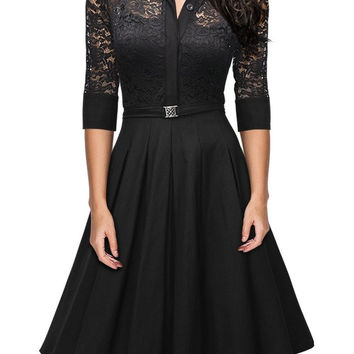 Black Turn-Down Collar Lace Spliced Dress