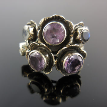 Amethyst Quartz and Moonstone Sterling Silver Ring - Size 6.5