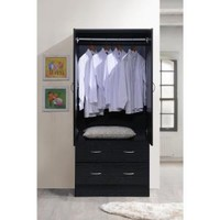 Hodedah Import Inc. Hodedah 2-Door Armoire with 2-Drawers in Black HI29 Black at The Home Depot - Mobile