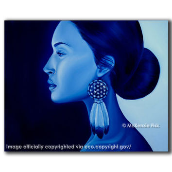 A Modern Pocahontas - gallery stretched canvas, blue painting by McKenzie Fisk