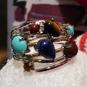 Multi Stone Vintage Sterling Ring  Turquoise Tigers Eye Lapis Lazuli Carnelian Sterling Silver 925 ATI Staggered Gemstone Gem Ring BOHO Hip