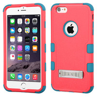 MYBAT TUFF Hybrid M-Stand Case for iPhone 6 Plus - Baby Red/Teal