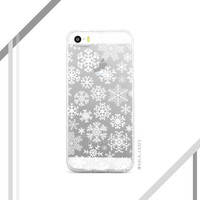 Snowflake Pattern iPhone Case - Clear iPhone Case with Design - Available for all iPhone Models ; iPhone 4s, 5s, 5c, 6s, 6 Plus