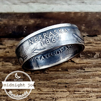 Nebraska 90% Silver State Quarter Coin Ring