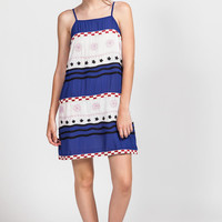 Embroidered Mix Print Tank Dress