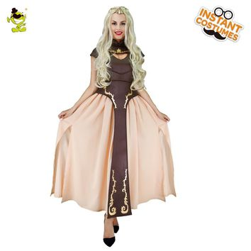 The Game of Thrones Costumes Halloween Carnival Party Gorgeous Queen Cosplay Fancy Dress Adult Women Deluxe the mother of Queen