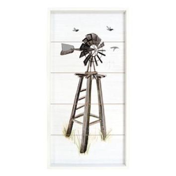 New View Windmill Planked Farmhouse Wall Decor