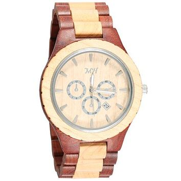 Red Sandalwood Maple Two Tone Wooden Watch Large Size Sport Dial Japan Movement