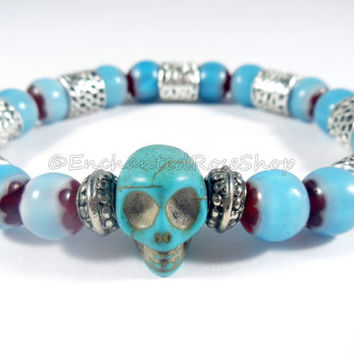 Day of the Dead Blue Chevron Bracelet, Skull Bracelet, Goth Bracelet, Boho Chic Skull Jewelry, Hippie Gypsy Goth Jewelry, Beaded Bracelet