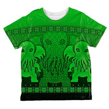 Ugly Christmas Sweater Big Cthulhu Greater Gods All Over Toddler T Shirt
