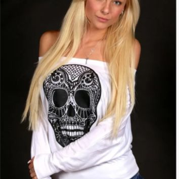 Vintage Skull Print Off the Shoulder Sweatshirt