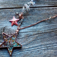 Shooting Star, Copper 3D pendant and chain necklace