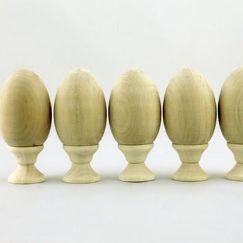 Lot of 5 Wooden Decoupage Eggs For Painting Souvenir Blank Unpainted Gift Handicraft