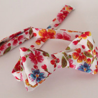 Bow tie, flower print bow tie, vintage style bow tie, retro accesoire