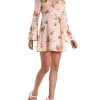 Peach Combo Bell Sleeve Floral Print Dress by Charlotte Russe