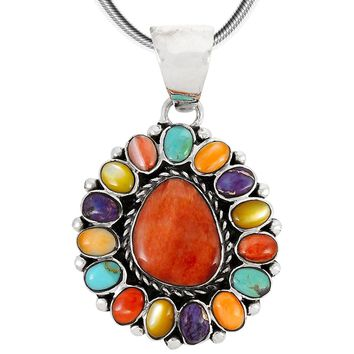Turquoise & Gemstones Pendant Necklace in Sterling Silver (SELECT Style)