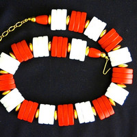 Modernist Vintage Red Coral and White Beads  'Spectator' Necklace Avon 1986