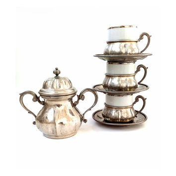 Vintage Espresso Coffee Serving Set , Italian Pewter and Porcelain Service .