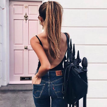 Sexy Rompers Womens Jumpsuits 2016 Summer Sexy Backless Bodysuits Sleeveless Skinny Playsuits Ladies Bodycon Solid Overalls