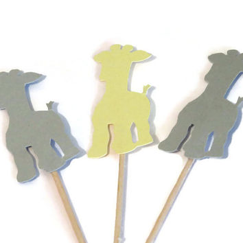 baby giraffe cupcake toppers, adorable baby shower decorations, gender reveal party decor, 12 pieces