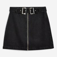 Double Buckle Denim Skirt - New In Fashion - New In