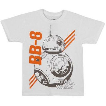 Star Wars The Force Awakens BB-8 Droid Licensed Kid's Youth T-Shirt - White - M