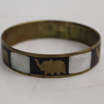 Vintage Costume Brass & Mother of Pearl Elephant Bangle Bracelet Cuff
