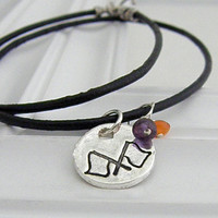 Flags Necklace - Hand Stamped Silver with Leather Cord on Etsy