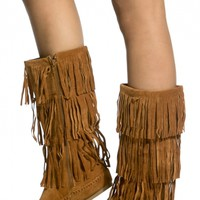Chestnut Faux Suede Fringe Calf Length Boots @ Cicihot Boots Catalog:women's winter boots,leather thigh high boots,black platform knee high boots,over the knee boots,Go Go boots,cowgirl boots,gladiator boots,womens dress boots,skirt boots.