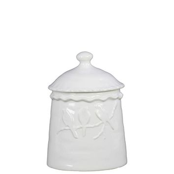 73176 Ceramic Canister With 3 Birds Relief Gloss White - White