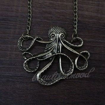 antique bronze octopus necklace Inspire jewelry steampunk style men gift