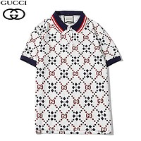 GUCCI New fashion more letter print lapel couple top t-shirt