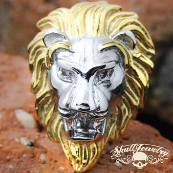 Gold/Silver 'King Leonidas' the Lion - Big, Bold & Heavy Ring (277Two-Tone)