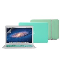 GMYLE(R) Turquoise 4 in 1 Rubberized (Rubber Coated) Hard Case Cover - Soft Sleeve Bag and Silicon Keyboard Protector - 11 inches Clear LCD Screen Protector - for MacBook Air 11 inch