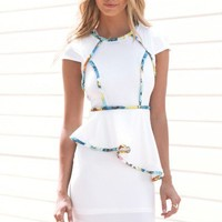 White Peplum Dress with Colorful Piping Detail & Open Back