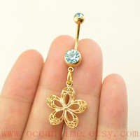 belly ring,gold flower belly button rings,navel ring,hollow flower belly ring,nautical belly button ring,bellyring