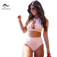 Tengweng 2016 New Arrival High Neck High Waisted Bikini Set Pink Push Up Swimsuit Bathing Suit Hollow Out Bandage Swimwear Beach