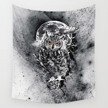 OWL BW Wall Tapestry by RIZA PEKER